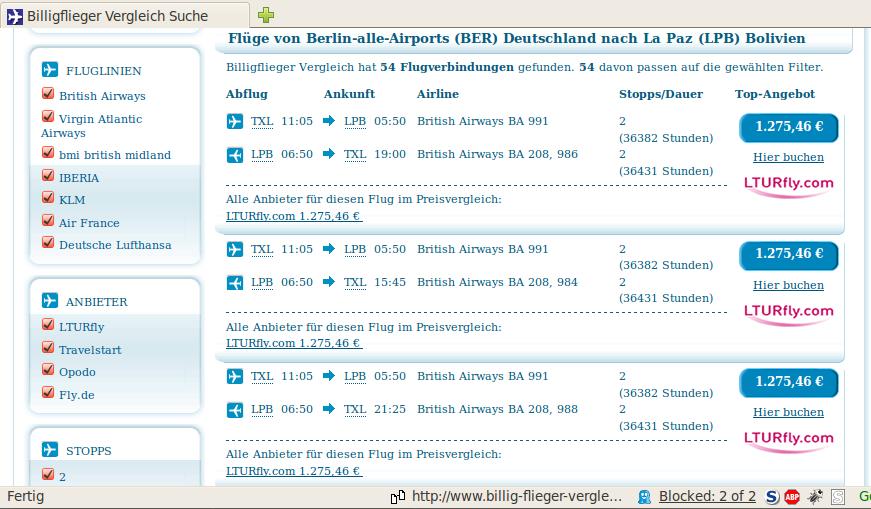 Flugdauer von Berlin Tegel nach La Paz/Bolivien: 36382 Stunden.
