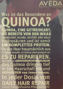 Werbeaufsteller für Quinoa.