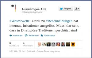 Westerwelle meint religiöse Traditionen seien in D geschützt