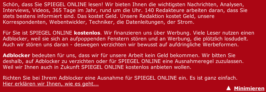 Spiegel-Online Adblockerhinweis