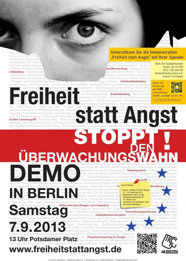"""Aufrufplakat Demo """"Freiheit statt Angst"""" 2013"""