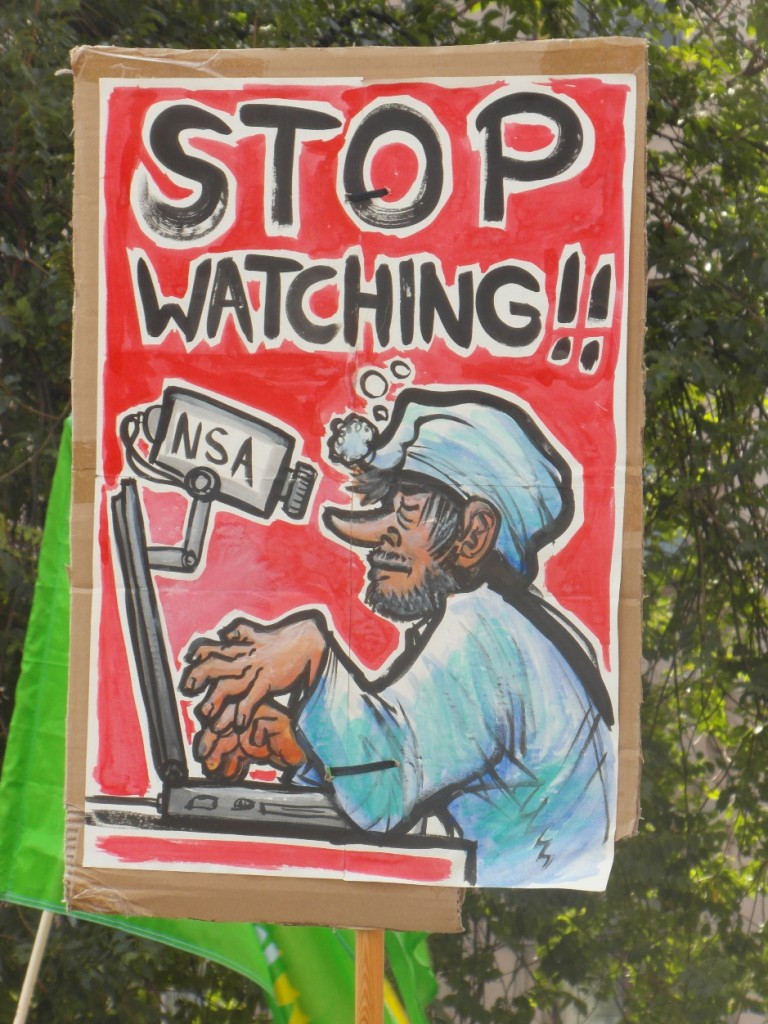 Abb. 1: StopWatchingUs Demo Berlin 2013 — NSA, Stop watching!