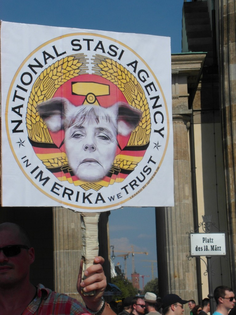 Abb. 19: StopWatchingUs Demo Berlin 2013 — National Stasi Agency * in IM Erika we trust.