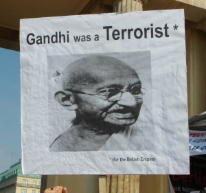 Abb. 20: StopWatchingUs Demo Berlin 2013 — Gandhi was a Terrorist … for the British Empire.