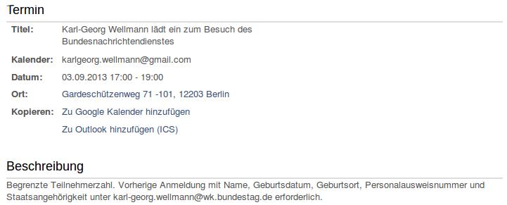 Kalenderblatt des MdB Karl-Georg Wellmann mit der Einladung zur BND-Besichtigung.