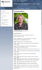 Lebenslauf von  Annette Schavan als Deutsche Botschafterin beim Vatikan.