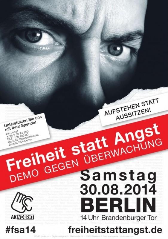 """Ankündigung Demo """"Freiheit statt Angst"""" 2014"""