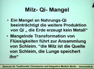 Milz-Qi-Mangel in der TCM nach Kürten. Abfotografierte Vortragsprojektion.