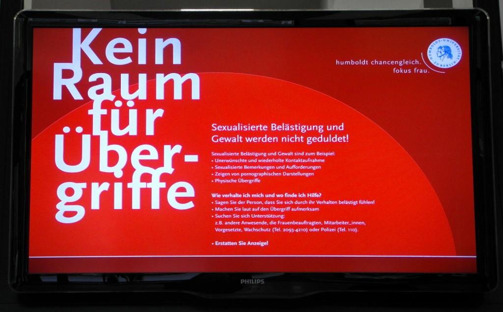 """Bildschirmanzeige """"Kein Raum für Übergriffe""""."""
