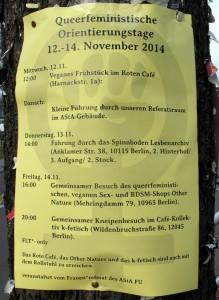 """Ankündigung zu den """"Queerfeministischen Orientierungstagen"""" des AStA der FU-Berlin."""