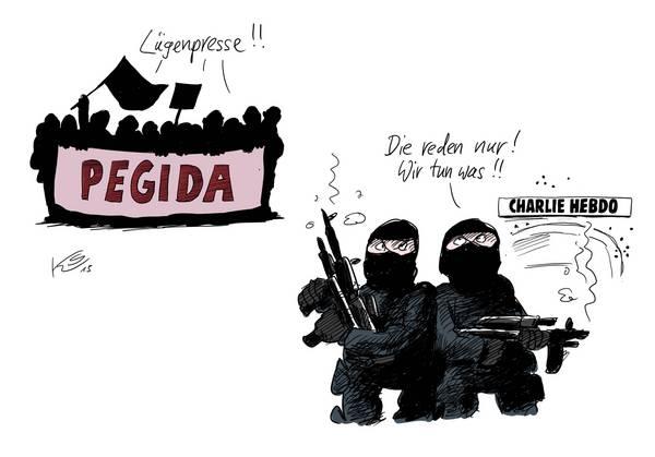 Pegida: Lügenpresse!! Charlie Hebdo-Terroristen: Die reden nur! Wir tun was!!!