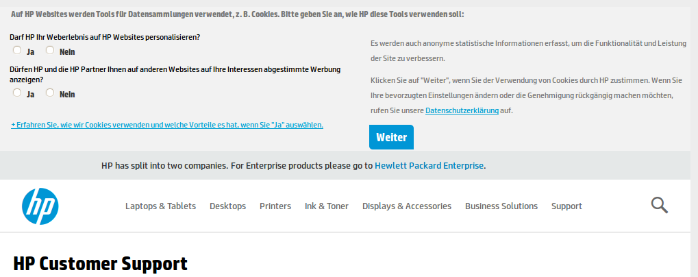 Cookiewarnung HP Customer Support