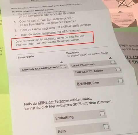 Wahlzettel der Grünen vonder Urwahl 2017