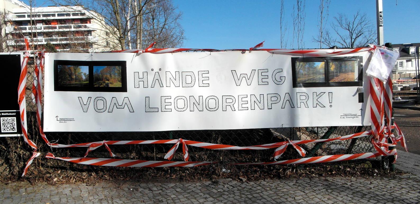 eonorenpark — Protestbanner gegen Abholzung