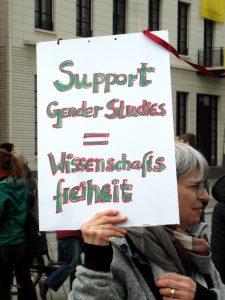 Plakat Gendersupport=Wissenschaftsfreiheit beim March for Science Berlin