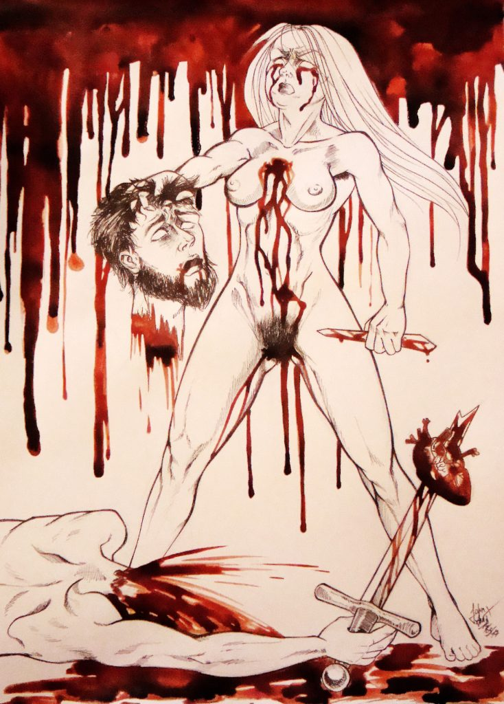 """""""When Heart is Hurt But Sword"""" gemalt in Menstruationsblut von Anna John"""