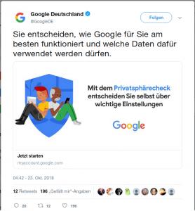 Google-Werbetweet für Privatsphärecheck