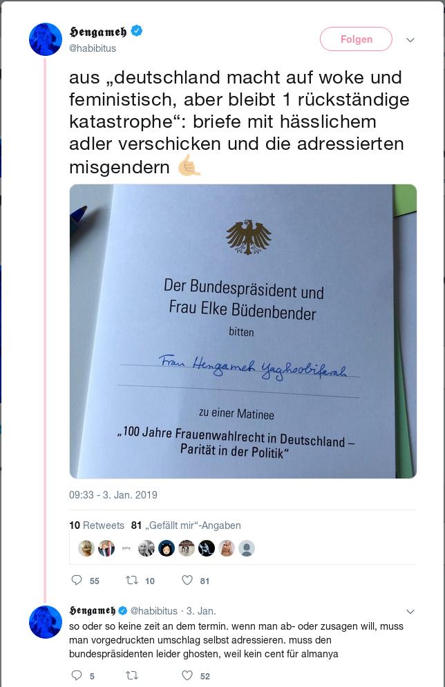 Tweet mit Einladung des Bundesprädsidenten