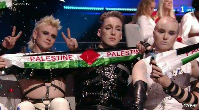Hatari mit Palästinaflagge in Tel Aviv beim ESC 2019.