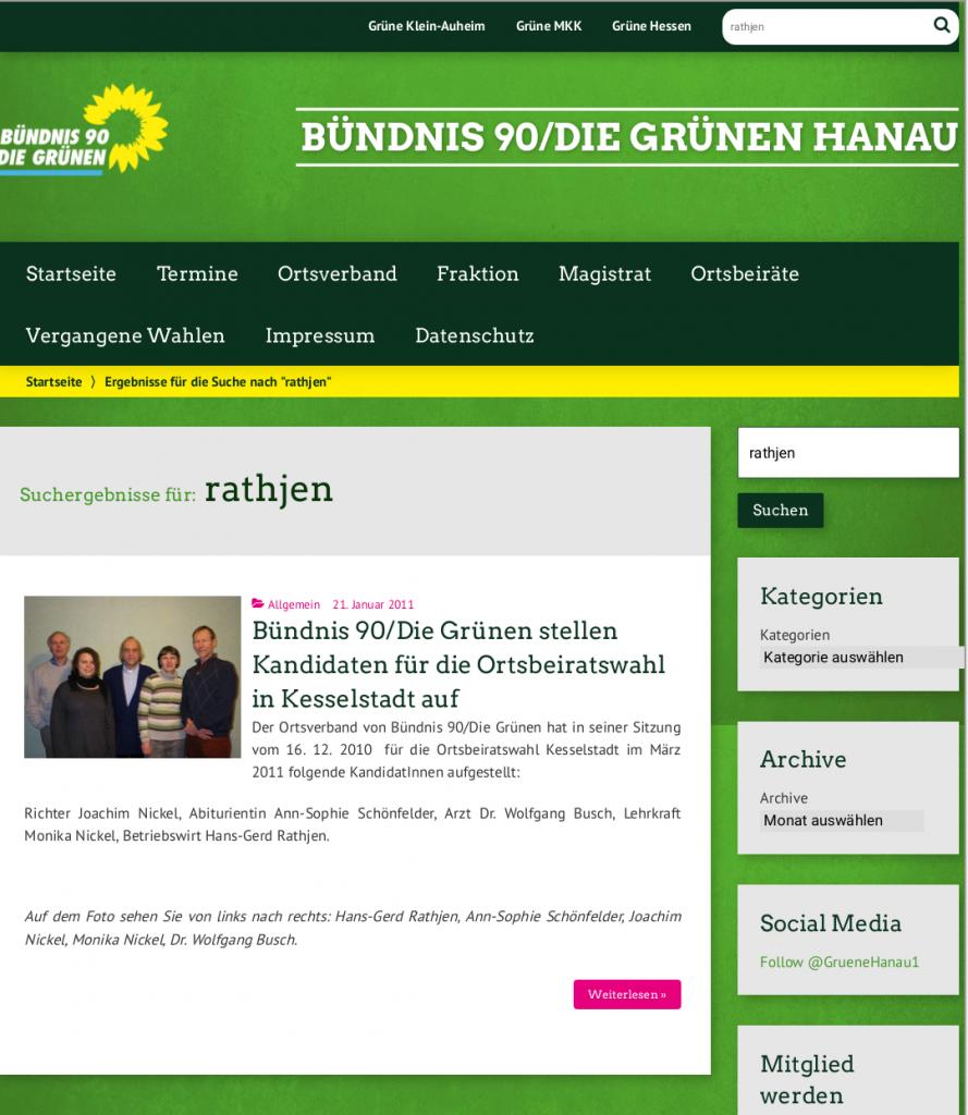 Bildschirmfoto der gelöschten Homepageseite der Grünen Hanau.