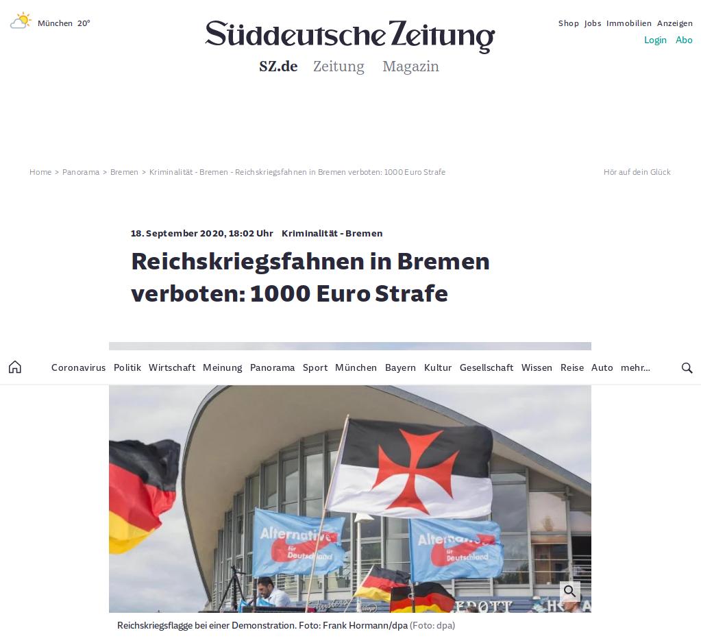 Bildschirmfoto mit Templerflagge als Reichskriegsflagge