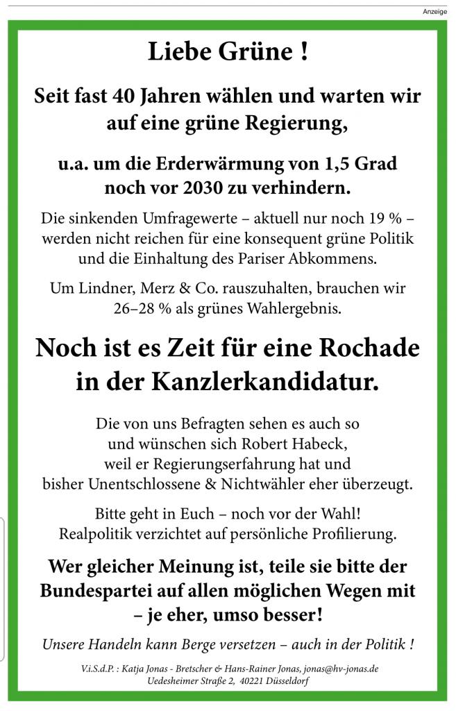 Annonce taz 28.08.29.2021 Rochade Kanzlerkandidatur