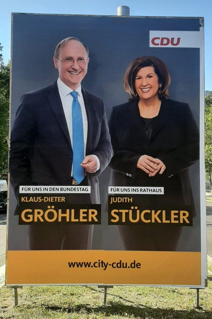 Wahlplakat der CDU-Berlin: Klaus-Dieter Gröhler und Judith Stückler