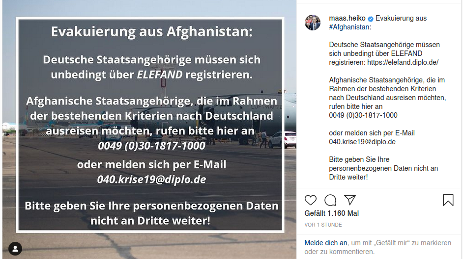 Bildschirmfoto des Instagrameintrags von Heiko Maas.